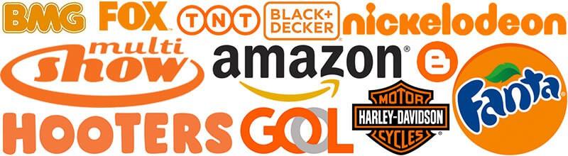 logos com laranja bmg, fox, tnt, black+decker, nickelodeon, multi show, amazon, blogger, fanta, hooters, gool, harley davidson.