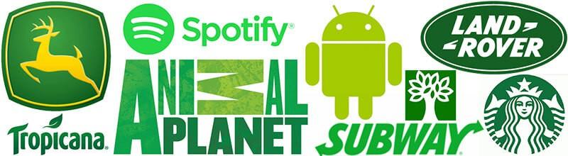 Logos com a cor verde john deer, spotify, android, animal planet, tropicana, subway, abril, star bucks, land hover